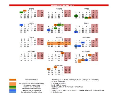 Calendario Grau 2013