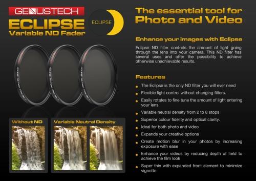 Accesorios cámara GenusTech: Filtro ND variable Eclipse y muchos otros accesorios