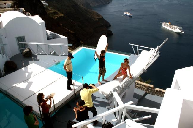 Shooting en Santorini, Islas Griegas campaña de baño